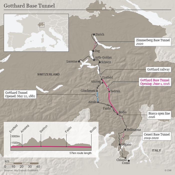 Gotthard Base Tunnel Map